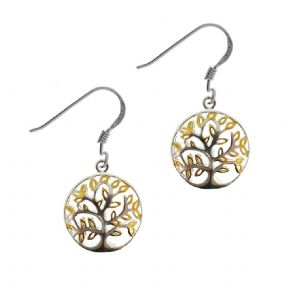 Sterling Silver & Gold Plated Tree of Life Earrings 1907